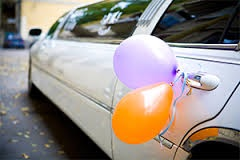 Birthday limo with baloons